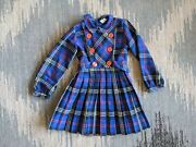 Vintage Blue Plaid Polyester Pleated Button Front Long Sleeve Dress Size 6