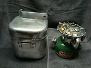 Coleman 502 Single Burner Stove With Cook Kit And Handle Dated 2/73 - Very Clean