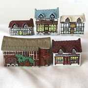 Wade England Whimsies Whimsey On Why Lot Of 5 Porcelain Buildings