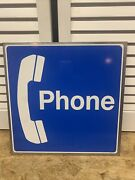 Vintage 2 Sided Pay Phone Sign Nos