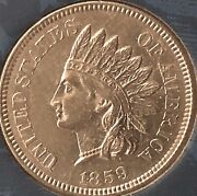 1859 Indian Head Penny Almost 4 Diamonds Beautiful Coincleaned