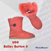 Ugg Australia Womens Classic Red Bailey Button Ii Casual Boots Size Us 9