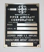 Piper Plate Lock Haven Acid Etched Pa18 Pa20 Pa22 Exact Replica Part