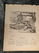 Paul Brown Calendar April 1947 'fly Fishing' For Brooks Brothers