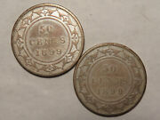 1899 Narrow And Wide 9and039s Newfoundland Fifty Cents