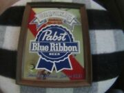 Vintage Glass Advertising Mirror Sign Pabst Blue Ribbon Wood Frame 1970's 14x10