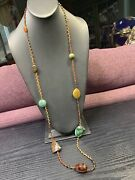 Vintage Hand Woven Wow Semi Precious Stone Pendant Necklace Signed Chan Luu