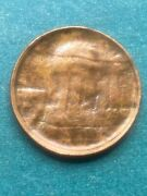 1980 Lincoln Cent Struck Through Capped Die Error With Rainbow Toning Bums++