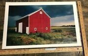 Vintage Poster Red Farm Barn In Open Field Iconic Pillars Of America Usa