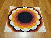 Awesome Rare Vintage Mid Century Retro 70s 60s Org Pink Blk Hippie Flower Fabric