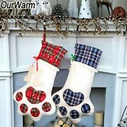 10pcs Large Pet Christmas Stockings For Dog Cat Kids Candy Gift Bag Plaid Paw