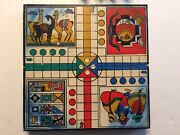 Rare Vintage One-of-a-kind Handmade Travel Parcheesi Wooden Board Game Old B6