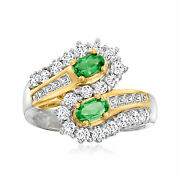 Vintage Tsavorite Ring With Diamonds In 18kt Gold Size 6