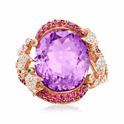 Vintage Amethyst Fish Ring With Multi-gemstones And Diamonds In 18kt Rose Gold