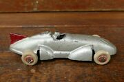 """Vintage 1930's Original Arcade Cast Iron 6"""" Gray 8 Finned Boat Tail Race Car"""