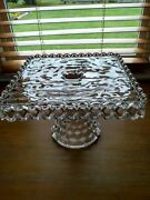 Vintage Fostoria Glass 10andrdquo Square Pedestal Cubist Cake Stand Plate W/rum Well