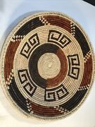 """Southwestern Style Woven Bread Basket Rust Brown And Tan 131/2""""x3"""" Tall New"""