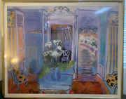 Raoul Dufy Plate Signed Purple French Window Vintage Print Poster Framed Huge