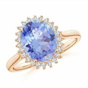 Classic Oval Tanzanite Floral Halo Ring In Gold/platinum Size 3-13
