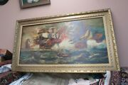 Antique Vintage Signed Nautical Clipper Ship Boat Fleet Oil Painting 24 X 48