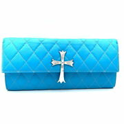 Chrome Hearts Clutch Bag Quilted Leather Light Blue Second Mens Women And039s _97584