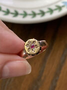 Ruby 6 Rose Cut Diamond 9k And 14k Gold Foiled Victorian Ring Wide Band Roman Styl