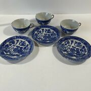 Vintage Childand039s Toy Dishes Blue Willow Plates And Cups 6 Pieces