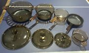 Vintage Corning Pyrex Amber Vision Ware Glass Cookware 8pc Set Pots And Pans