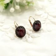 Vintage Oval Garnet Earrings W/14ct Gold Wires Victorian Style ГРАНАТ 210412f