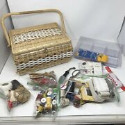 +1950's Jc Penny Brand Woven Sewing Basket Made In Japan Vintage Sewing Notions