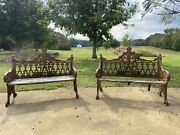 Antique English Gothic Revival Style Cast Iron Garden Bench Coalbrookdale Style