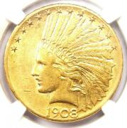 1908-s Indian Gold Eagle 10 - Certified Ngc Au55 - Rare San Francisco Date