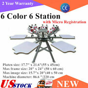 6 Color 6 Station Silk Screen Printing Press Machine With Micro Registration