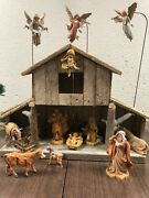 Large Vintage Fontanini Nativity Creche Set 5andrdquo Manger Angels And Stands Mary Jo