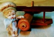Antique 3 Inch German Bisque Miniature Doll And Accessories W/trunk