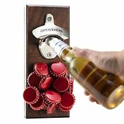 Gifts For Men Dad Husband Magnetic Bottle Opener Wall Mounted Cap Catcher