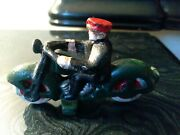 3 Antique Cast Iron Green Motorbike Motorcycle Toy Unbranded
