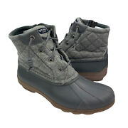 Womanand039s Gray Sperry Saltwater Gray Quilted Rubber Duck Boots Size 9 Sts81993