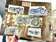 Antique 1920and039s French Motorcycle Scrapbook Album Wow 35pgs