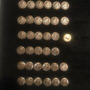 37 Vintage Metal Waterbury Button Co - Coat Of Arms - Lot Post Ww11