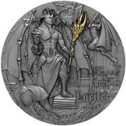 Niue 2021 5 Angels And Demons - Lucifer 2 Oz Antique Finish Silver Coin