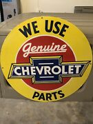 Old Porcelain Heavy 30 Inch Single Sided Chevrolet Sign