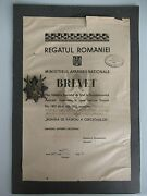 Romania Kingdom Scout Officerand039s Regiment Badge. Marked. 34 W/ Document Rr