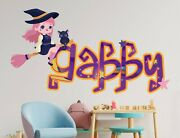 Fun Night Girly Witch Custom Vinyl Lettering Stickers Wall Decals Name Art Ka655