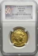 2008-w Gold 25 Buffalo Burnished Top 50 Ngc Ms69 Mint State Low Mintage