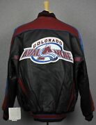 New Vintage Colorado Avalanche 58 Sports Nhl Embroidered Leather Jacket Xl
