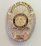 9/11 Memorial Badge - Limited Edition Full Size Police / Fire / Ems