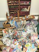 Large Vintage Sewing Crochet Embroidery Lot Tools Accessories Storage Books