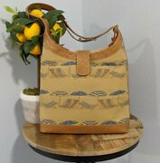 Vintage Brahmin Beach Chairs And Umbrella, Canvas And Leather