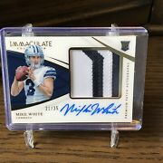 2018 Panini Immaculate Football Mike White Rpa Auto Cowboys Patch Rc 21/35 Jets